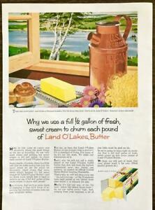 1958 Land O' Lakes Butter PRINT AD Why We Use a Full Half Gallon of Sweet Cream