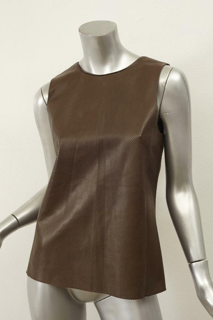 VINCE damen Grün Sleeveless Perforated Leather Blouse Shirt Top S