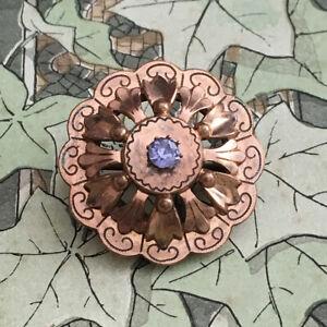 Brosche-Antik-1900-Vergoldet-Rosa-und-Strass-Blau-Antik-Franzosisch-Brosche