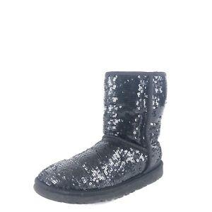 670b9d51a0f Details about UGG Australia Women's Short Boots Black Sequin 3161 Size 6 M *