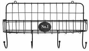 Black-Wall-Mounted-Wire-Shelf-With-Key-Hanging-Hooks-Magazine-Storage-Rack-Metal