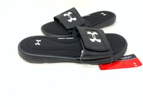 NEW Under Armour Men/'s Ignite V Slides Black//White #1287318 160AB tz