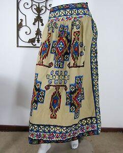 WD-NY-100-COTTON-Skirt-Long-Size-6-Banded-Peasant-Argyle-Beige