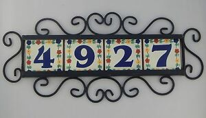 Image Is Loading Fl Four Mexican House Number Tiles Amp Iron