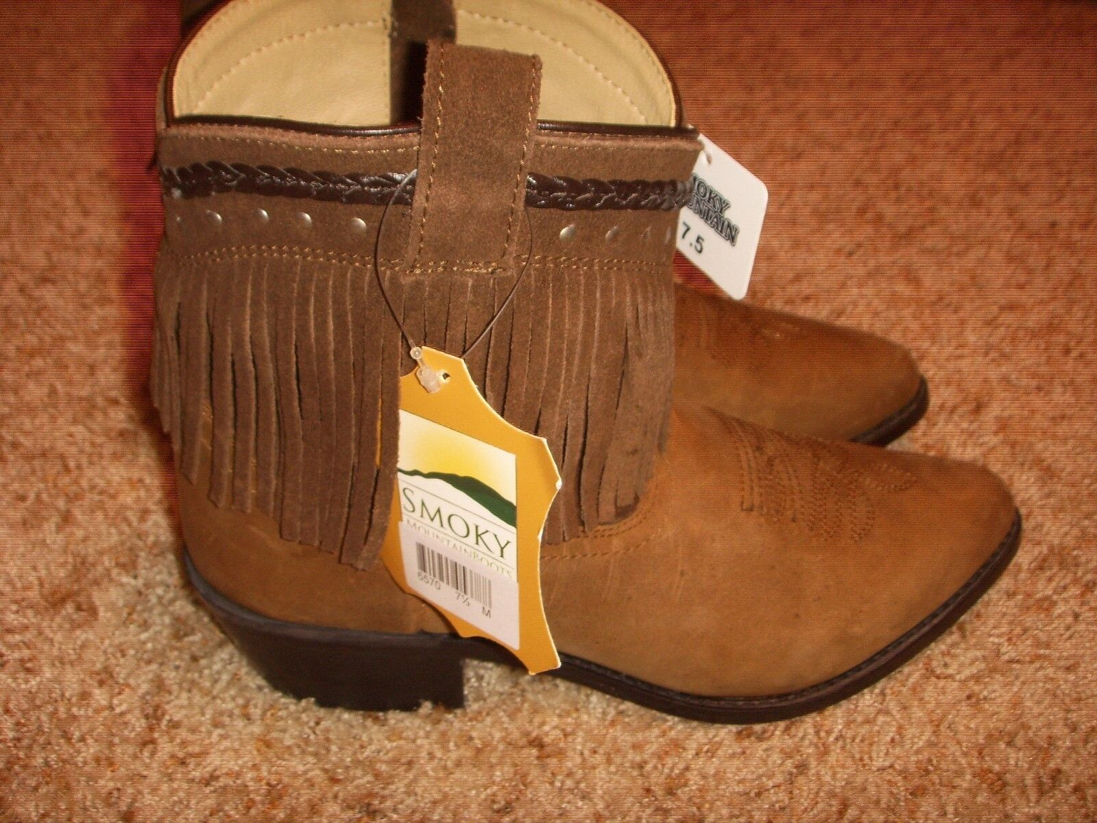 Smoky Mountain Torrance Western Cowboy bottes cuir Zip Up Fbaguee marron Wms 7.5