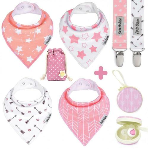 Baby Bandana Bibs Cowgirl Western Girl Drool Pacifier Clips Case Gift Set New
