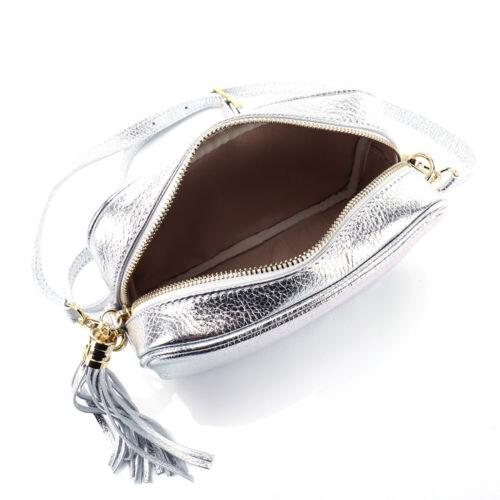 ad974dbb510df Silber Leder Clutch Quasten Fransen Pelle Metallic Party Tasche Abend  Shopper QshxrCtd