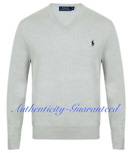 Ralph Lauren Men s Pima Cotton V-Neck Jumper Light Grey S - XXL RRP ... 3616698cfe10