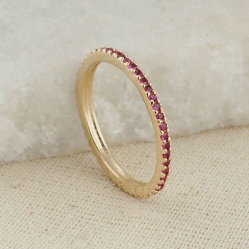 Genuine Red Ruby Eternity Band Ring 14k Yellow Gold Fine Jewelry Birthday Gifts