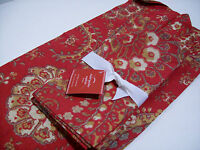 Pottery Barn Christmas Holiday Red Chalet Paisley Dinner Napkins Set of 4 New
