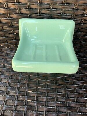 White Ceramic Soap Dish Tray Holder Gloss Vintage Retro Square Wall Mount Tray