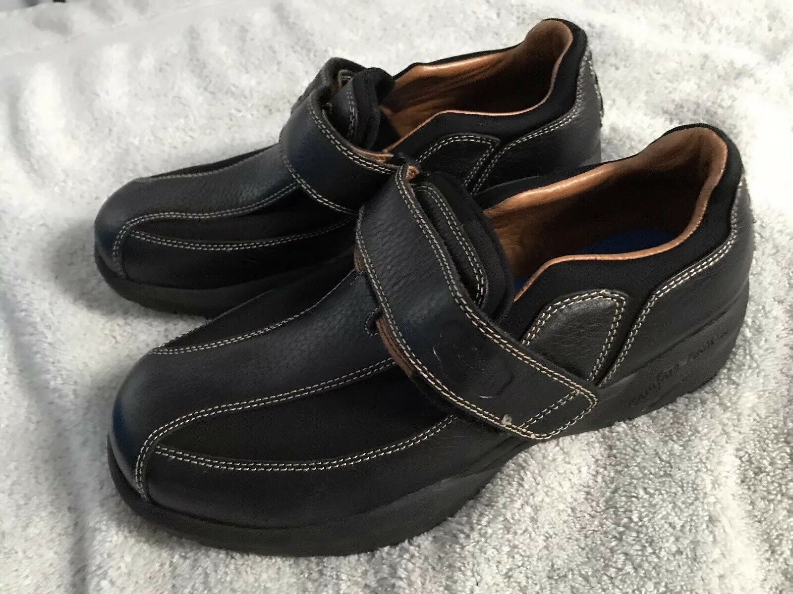 Dr Comfort Therapeutic Donna Nero Suede/Pelle Slip On Shoes Size 6.5W SC8