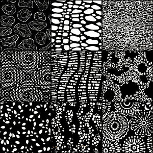 LUNN-FABRICS-BATIK-BLACK-amp-WHITE-SPOTS-9-FAT-QUARTERS-BUNDLE-FAT-QUARTER