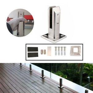 Railing-Clamp-Glass-Clip-Floor-Standing-Stairs-Balcony-Pool-Spigots-Balustrade