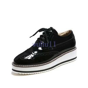 Womens-Chic-Brogues-Oxfords-Flat-Platform-Creeper-Lace-Up-Retro-Wingtip-Shoes-WU