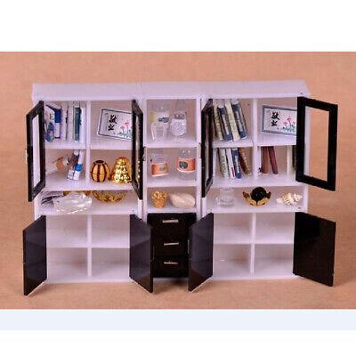 1//12 Dollhouse Miniature Furniture Display Cabinet Bookshelf Accessories Set