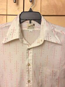 Vintage 70's Bonds B Disco Men's White Polyester Short Sleeve Shirt 16 1/2 L