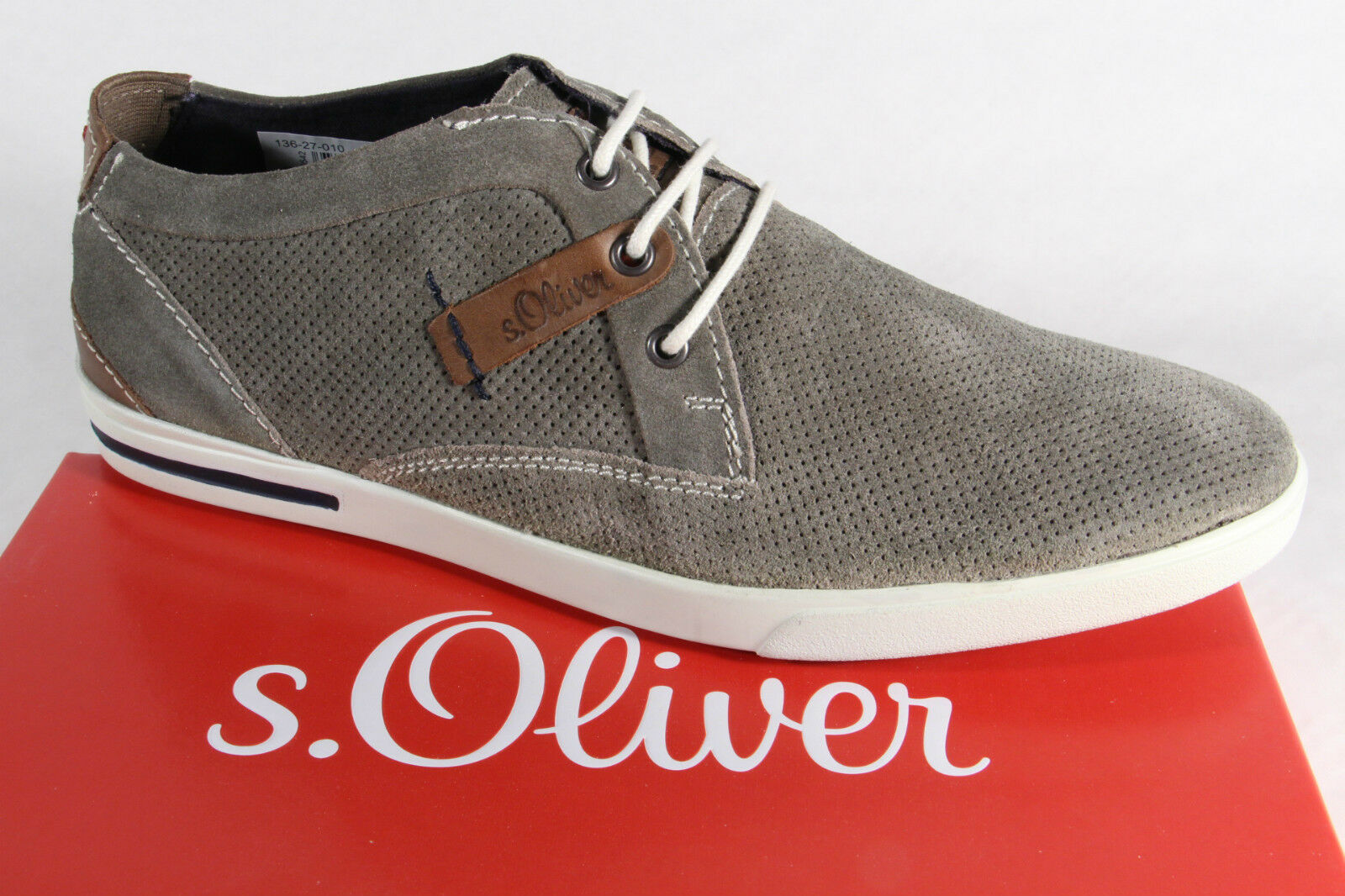 S.Oliver Men's Lace-Up shoes Sneaker Grey, Real Leather,Rubber Sole, NEW
