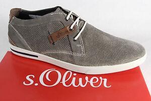 s-Oliver-CABALLEROS-Zapatos-De-Cordones-Sneaker-gris-cuero-autentico