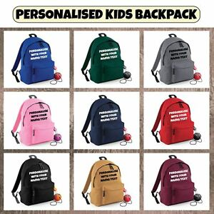 4904ab08139 New Kids Boys Girls Personalised Your Name Text Fashion Backpack ...