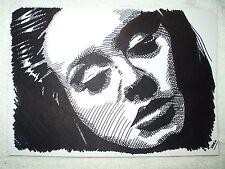A4 Black Ink Marker Pen Sketch Drawing Adele Laurie Blue Adkins