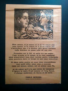 Rare gravure impression limitée illustration Picasso poeme Pablo Neruda 1975