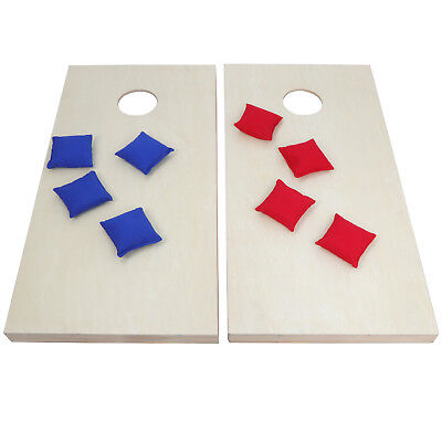 GREAT VALUE UNFINISHED WOODEN CORNHOLE BOARDS BEAN BAG TOSS GAME SET W//Carry Bag
