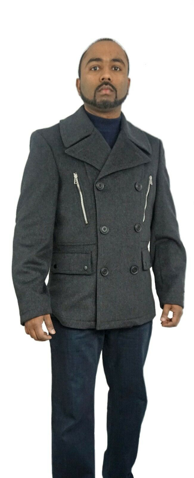 Herren West End wool charcoal Peacoat