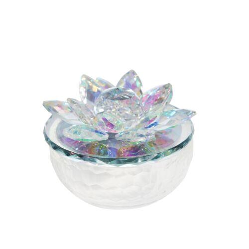 """Sagebrook Home CRYSTAL LOTUS 5/"""" TRINKET JAR,RAINBOW"""