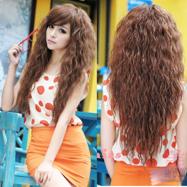New Womens Fashion Sexy long Full Curly Wavy Hair Wigs Cosplay Party 3 Colors