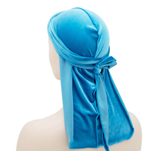 Men Women Breathable Bandana Hat Velvet Durag Long Tail Headwrap Chemo Wave Cap