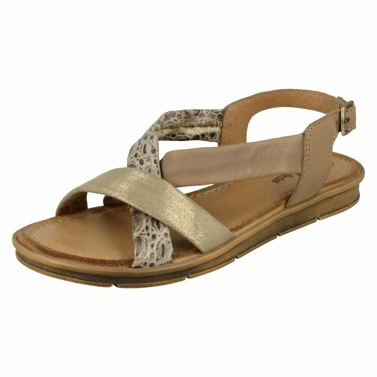 f00035- Leather Collection para Gran mujer atado Talón Camel sandalias- Gran para Precio 715bd3