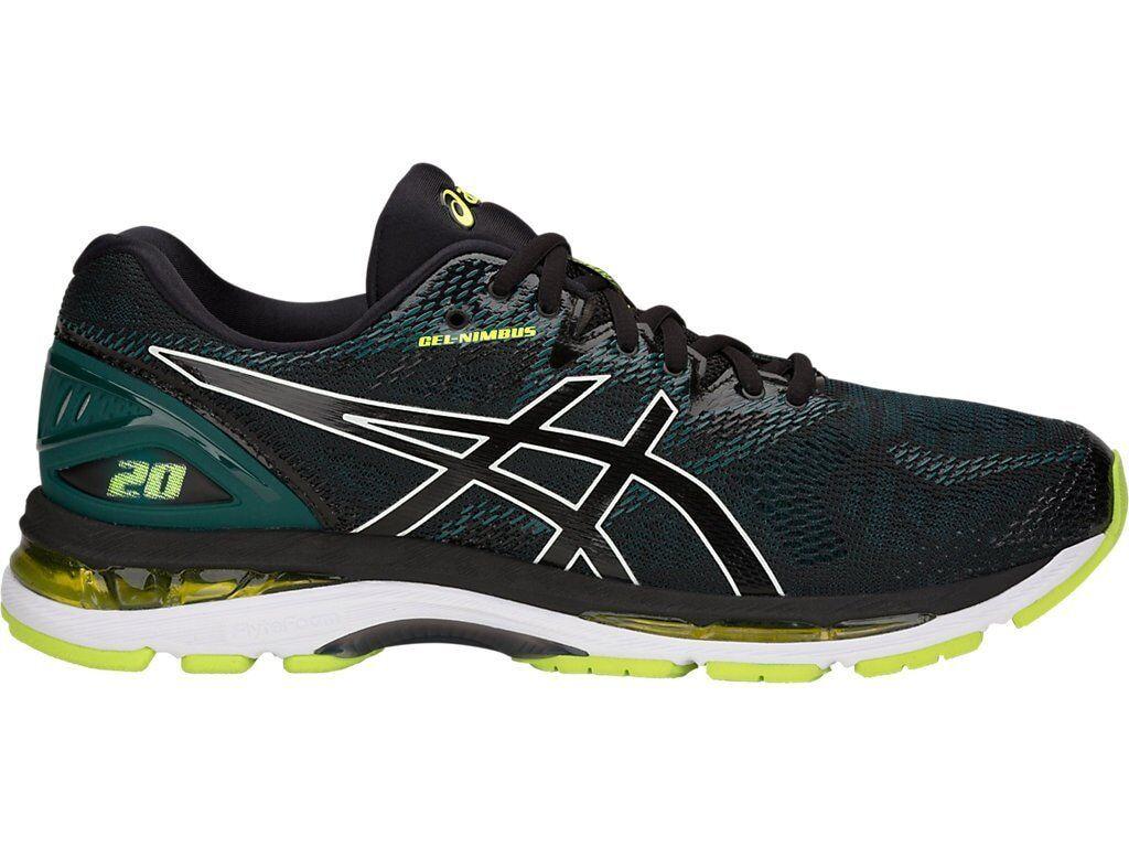 Asics Gel-Nimbus 20 D Negro Neón Verde Lima Hombre Running Zapatos D 20 Ancho T800N-004 e8f4f5