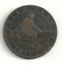 VERY NICELY DETAILED 1870 OM SPAIN DIEZ GRAMOS 10 CENTIMOS-JN251