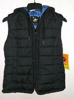Womens Athletech Black W Blue Lining Bubble Vest W/hood Size M (nwt)