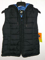 Womens Athletech Black W Blue Lining Bubble Vest W/hood Size M (nwt)