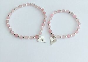Image Is Loading Rose Quartz Bracelet Children S Personalised Bracelets