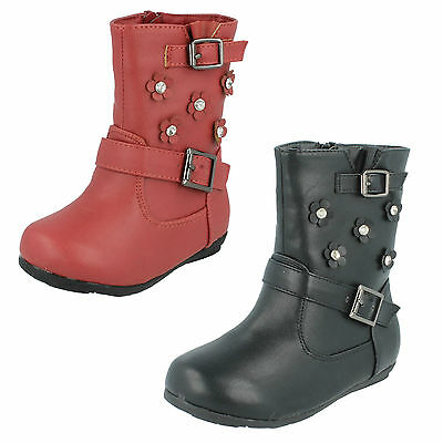 Girls Black//Red Spot On Boots UK Sizes 5-10 H4106