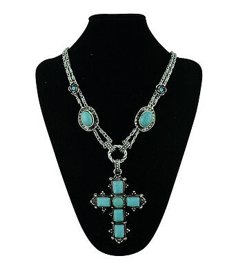 New European Vintage Elegant Silver Plated Cross Turquois Pendant Charm Necklace