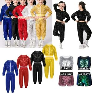 9f8ce6ed58f6 Sequins Girls Boys Modern Jazz Hip Hop Dance Costumes Kids Dancewear ...