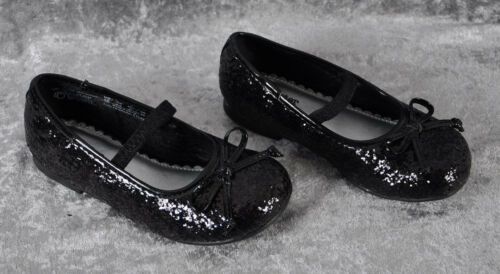 Girl/'s Buster Brown Evelyn Sparkle Shinny Flats Black Glitter Shoes 8 9 10  ~NEW