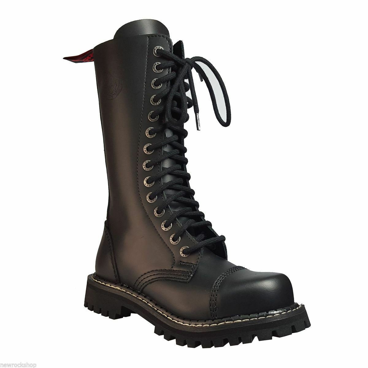 Angry Itch 14 Hole Negro Combat Leather Army Punk Ranger botas Steel Toe Punk Army Zip 037ddc