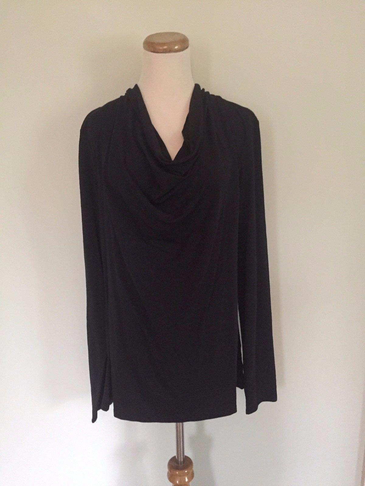 A RUBY   damen's schwarz Drapy L-Sleeve Cowl Neck Top Sz  L NWT Free Shipping