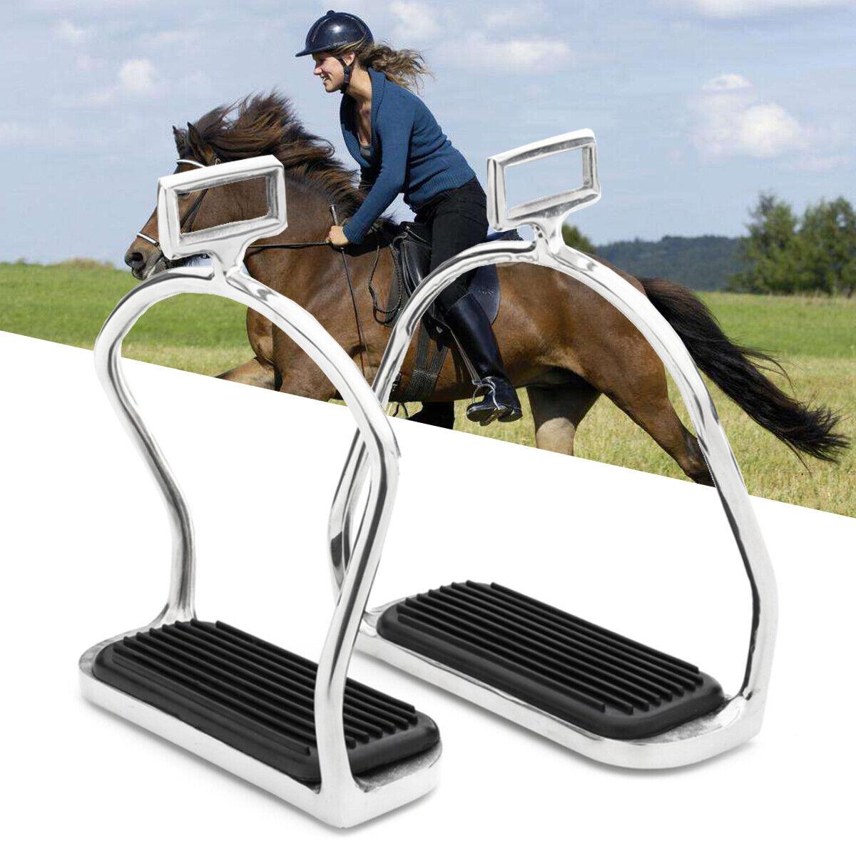Stirrups acier inoxydable Double Bent Safety Irons Horse Riding Stirrups