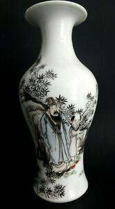 Ancien-vase-balustre-Chinois-Old-chinese-baluster-black-and-white-porcelain