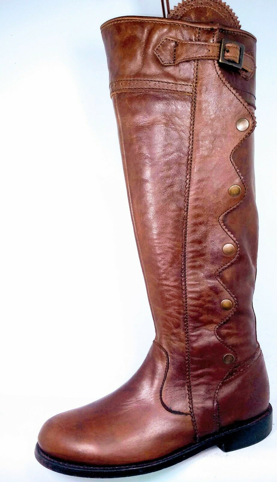 ANOUK Handmade Brown Pelle Riding Snaps Full Zip Stivali Donna   7 Minimal Wear