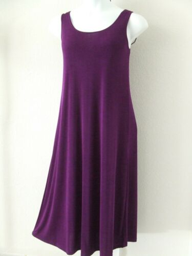 Long A-Line Tank Travel-Knit Dress NEW stretchy no-iron poly//span PURPLE