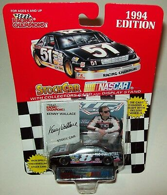 1994 Racing Champions Kenny Wallace #8 Car 1:64 Scale Die Cast Car with Collector Card and Display Stand