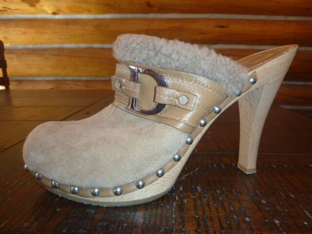 Christian Dior  Leather Shearling Platform Mules Mules Mules Clogs shoes 39 Beige High Heel bf2c74
