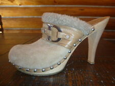 Christian Dior  Leather Shearling Platform Mules Clogs Shoes 39 Beige High Heel